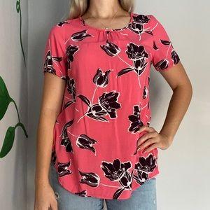3/20$ Old navy pink floral shirt top